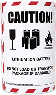 300 Labels - Caution Lithium Ion Battery Stickers for Transport Package Battery Warning (4 x 4.75 Inch - 1 Roll)