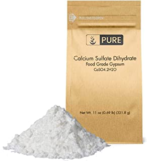 Calcium Sulfate (Gypsum) (11 oz.) by Pure Organic Ingredients, Eco-Friendly Packaging, for Multiple Uses Including Baking, Water Treatment, and Gardening