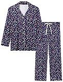 Joyaria Damen Schlafanzug Lang Pyjama Set mit Knopfleiste fur Winter Schlafanzüge Langarm Kuschelig(Weihnachten,Größe M)