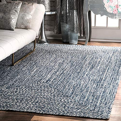 nuLOOM Lefebvre Braided Indoor/Outdoor Rug, 5' x 8', Light Blue