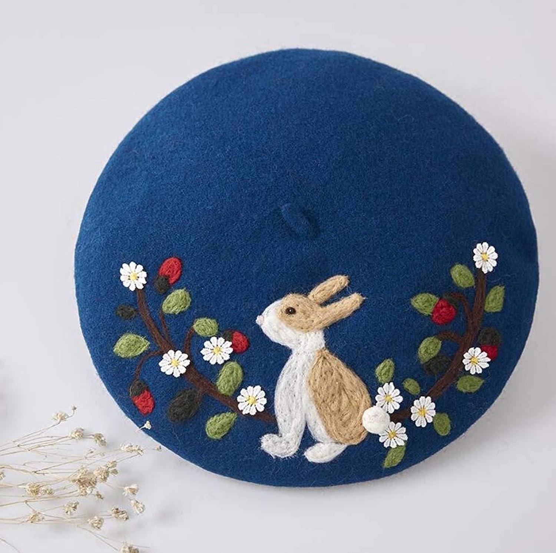 DDHZTA Handgemachte Wollfilzhut Kaninchen Garten niedlich Maler Hut kreativ Hut,bluee