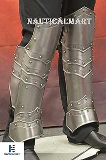 NAUTICALMART Medieval Steel Full Greaves Leg Armor SCA LARP