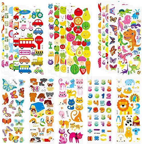 HUADADA Sticker Kinder 3D Stickers Aufkleber Für Kinder Kleinkinder 260+ Geschwollen Stickers Niedliche Verschiedene Set Buchstaben Zahlen,Schmetterlinge, Fische, Dinosaurier und vieles mehr
