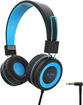 NIVAVA K8 Kids Headphones for Children Boys Girls Teens Wired Foldable Lightweight Stereo On Ear Headset for iPad Cellphones Computer MP3/4 Kindle Airplane School(Black/Blue)