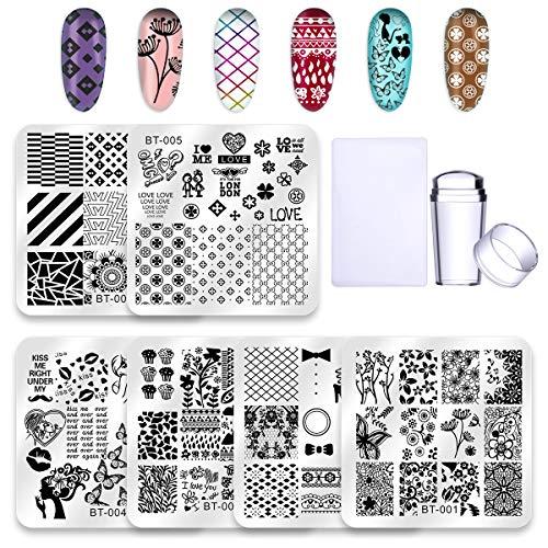 Biutee 6 Pcs Square Nail Stamping Plates Set 1Pcs nail stamper 1Pcs scraper Lace Flower Animal Pattern Nail Art Stamp Template Image Plate Stencils Tool Kits (Set A)