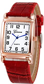Women Quartz Watch Hosamtel Ladies Casual Faux Leather Checkers Rectangle Dial Analog Watch