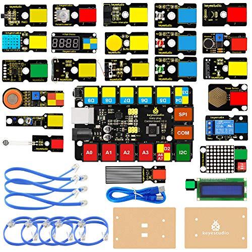 KEYESTUDIO Easy Plug Super Starter Kit para Arduino/Mixly, Kit de Aprendizaje electrónico y de programación para Estudiantes de Primaria, Secundaria y Universidad, Stem EDU