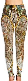 Cyloten Vintage World Map Yoga Pants Women's Stretch Leggings Breathable High Waist Trousers Sportswear