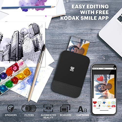 KODAK Smile Instant Digital Bluetooth Printer for iPhone & Android – Edit, Print & Share 2x3 Zink Photos w/ Smile App (Black/ White)
