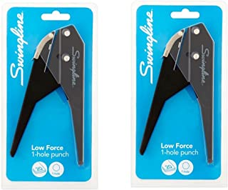 Swingline Low Force 1-Hole Punch, 20 Sheets, Black (A7074017), 2 Packs