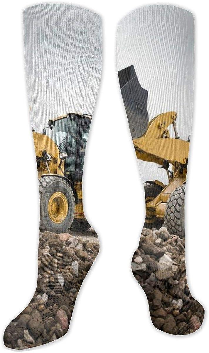 Excavator Pattern Knee High Socks Leg Warmer Dresses Long Boot Stockings For Womens Cosplay Daily Wear