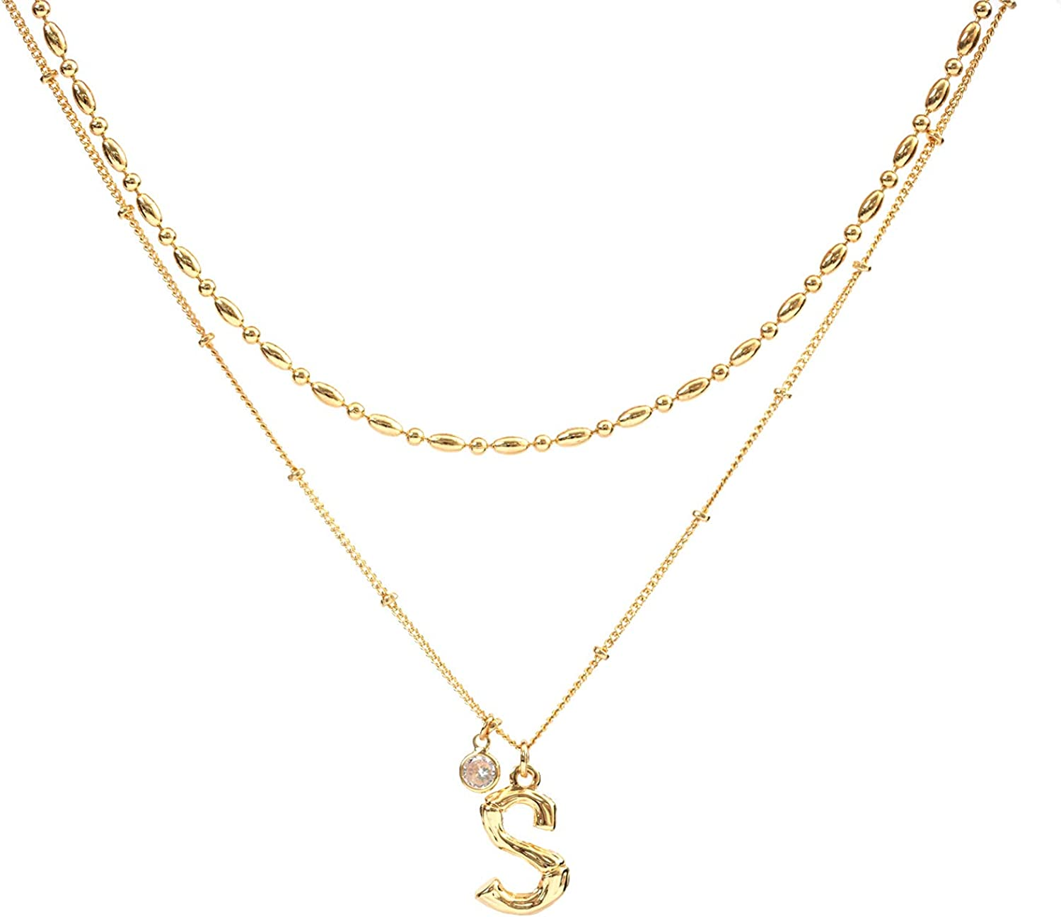 PESMES Layered Gold Chain Initial Letter Necklaces 14K Gold Beaded Chain Choker Set, Bamboo Letter with Cubic Zirconia Necklaces for Women