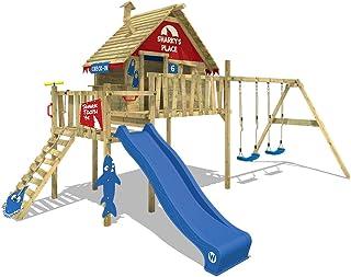 WICKEY Parque infantil de madera Smart Bay Casita de juego Casa sobre pilares con columpio doble, balcón y tobogán