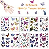 Yojoloin Schmetterling Tattoos Set 280 Pcs temporäre Kinder Tattoos Aufkleber Für Kinder Spielen Mitgebsel Mädchen Jungen Party Supplies Kindergeburtstag geschenktüten (20 Blatt). -