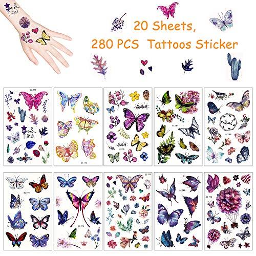 Yojoloin 280pcs Tatuaggi temporanei per Bambini,Farfalla Tatuaggi Finti temporanei Adesivi per Bambini Ragazzi Festa di Compleanno Sacchetti Regalo Giocattolo(20 Fogli).