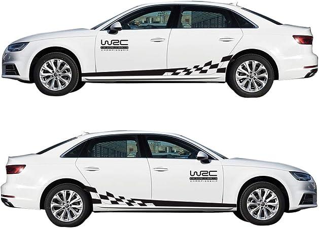 Wangscanis Universal Gestreifte Auto Aufkleber Car Racing Body Auto Karosserie Seitenstreifen Aufkleber Für Alle Autos Wrc Schwarz Auto