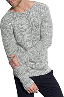 Fubotevic Men Knitted Casual Slim Crew Neck Contrast Pullover Sweaters Jumper