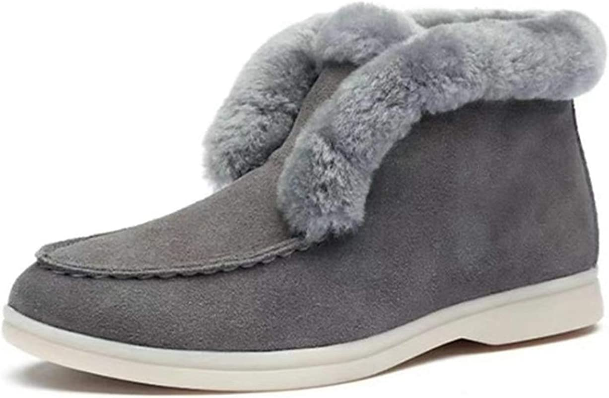 SO SIMPOK Women's Winter Warm Fur Lined Snow Boots Ladies Flat Slip On Ankle Boots
