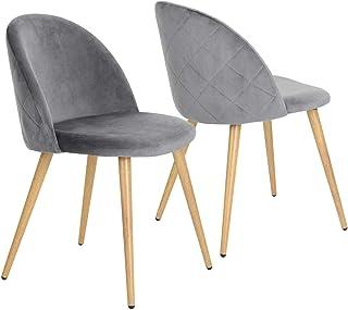 Juego de 2 sillas de Comedor de Terciopelo Gris para Oficina ergonómicas Patas de Metal con Acabado en Madera