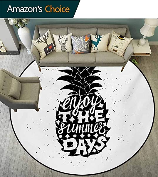 RUGSMAT Tropical Modern Machine Washable Round Bath Mat Motivational Slogan On A Exotic Pineapple Indigenous Hawaiian Fruit Pattern Non Slip Soft Floor Mat Home Decor Diameter 71 Inch