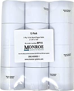 """Monroe Systems for Business 15 Pound Bond Paper Rolls, Single Ply, 2 1/4"""" x150' for Cash Registers, Printing Calculators, ..."""