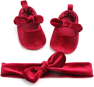Carolilly Set Neonata Scarpe Primi Passi Bowknot Battesimo Infantile Scarpine Neonato Principessa AntiScivolo+Fascia Neonata