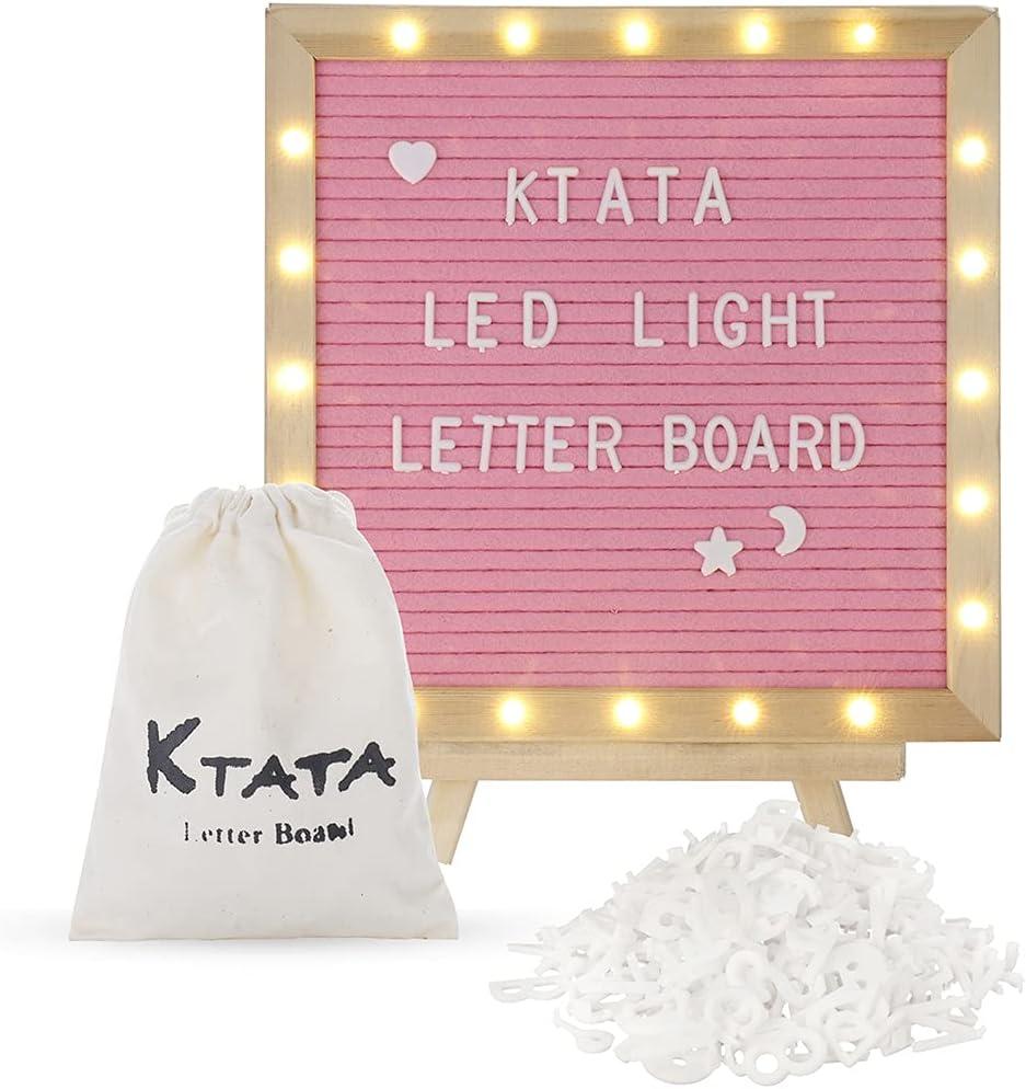 Ranking TOP17 KTATA Felt Letter Board Built-In Inch Lette Light Max 57% OFF Led 10x10