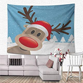 Christmas Tapestry Wall Hanging, Reindeer Rudolph with Red Nose and Santa Claus Hat Snowy Forest Wall Tapestry Home Decorations for Living Room Bedroom Dorm Decor, 80