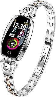 ساعة ذكية للنساء مضادة للماء مراقب معدل ضربات القلب بتقنية البلوتوث لأندرويد IOS سوار اللياقة البدنية (اللون: فضي)