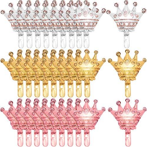 Skylety 30 Piezas Globos de Corona de Helio Globos de Corona de Papel de Aluminio Globos de Corona de Oro Plata Oro Rosa para Decoraciones de Boda Cumpleaños Navidad Halloween, 14 x 12 Pulgadas
