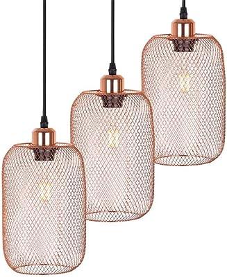 Galvanoplastia moderna lámpara colgante de jaula de metal E14 ...