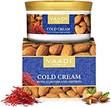 Cold Cream with Almond Oil, Aloe Vera & Saffron, 16 Oz (Pack of 3 X 150 Gm), Herbal lotion - All Natural - Paraban Free - Vaadi Herbals