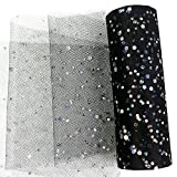 Yuanchuan Laser Sequin Glitter Tulle Rolls 6 inch x 10 Yards (30 feet) Black Color Tulle Rolls Spool Fabric Tutu for DIY Skirts Wedding Gift Wrap Sewing Crafting Bow Bridal Decorations Birthday Party (Black)