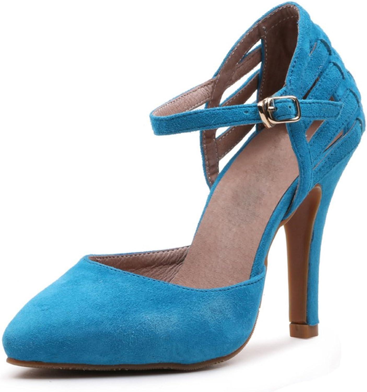 Women's Scrub Suede Buttoned Tip High Heels Girls Temperament Workplace Sandals