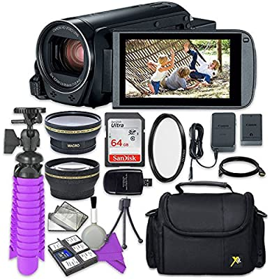 Canon VIXIA HF R800 Camcorder with Sandisk 64 GB SD Memory Card + 2.2X Telephoto Lens + 0.42x Wideangle Lens + Accessory Bundle from Canon