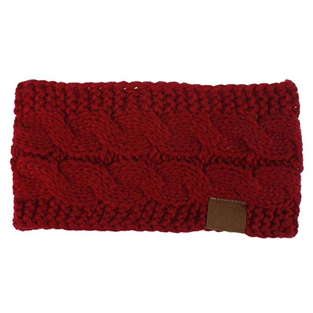 BCDlily Stretch Winter Warm Cable Knit Fuzzy Lined Ear Warmer Headband Knitted Hair Band (Wine)