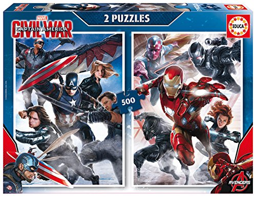 Capitán America - 2 Puzzles Civil War, 500 Piezas (Educa Borrás 16702)
