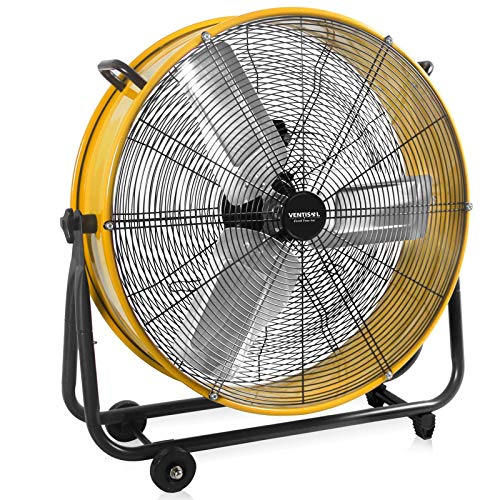 VENTISOL 24 Inch HeavyDuty Barrel DirectDrive Drum Fan360° Tilting Fan Head 3 Speeds Setting Industrial Commercial Use Yellow Upgraded Version