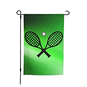 Crossed Racket And Tennis Garden Flag-12 X 18 Inch Double Sided Yard Flag For Home Outdoor Garden And Farm Decor