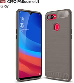 Oppo Realme U1/F9 Case, Silicone Leather[Slim Thin] Flexible TPU Protective Case Shock Absorption Carbon Fiber Cover for O...