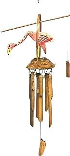 Bellaa 23370 Pink Flamingo Wind Chime Bamboo Coconut Wood Bird