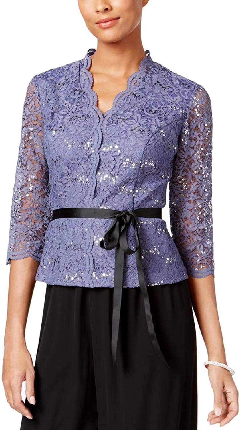 Alex Evenings Womens Lace Sequined Blouse