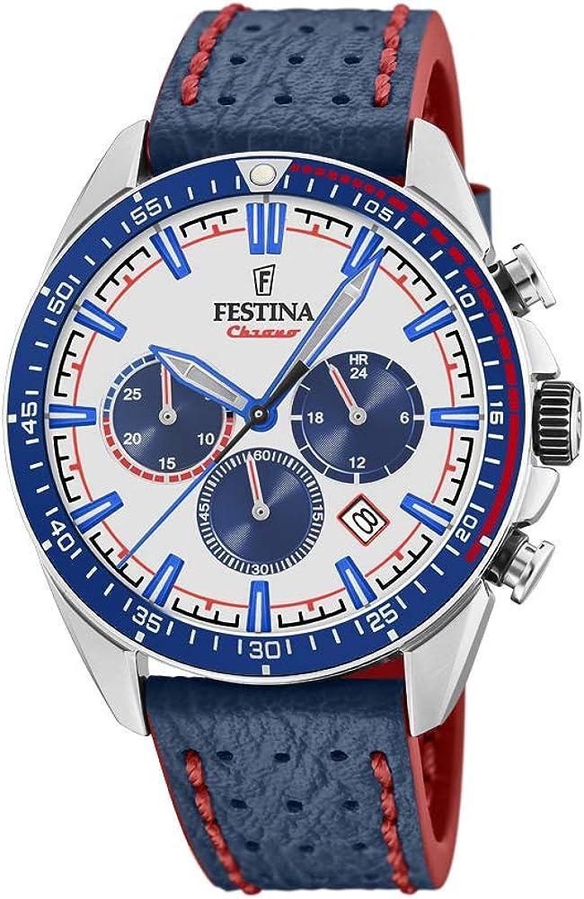 Festina orologio cronografo da uomo con cassa in acciaio inossidabile cinturino in vera pelle F20377/1