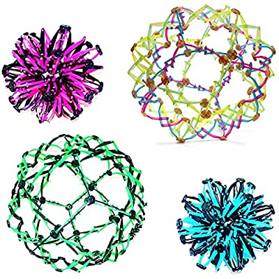 """4E's Novelty Expandable Breathing Ball Sphere (4 Pack) Toy for Kids Stress Reliever Fidget Toys Colors May Vary for Yoga Anxiety Relaxation Expands from 5.6"""" to 12"""" by 4E's Novelty"""