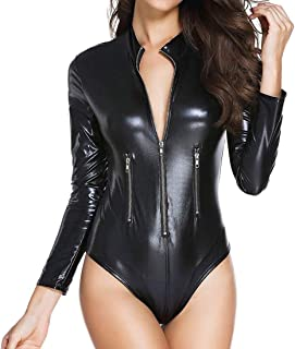 Womens Latex Wet Look Catsuit Sex Zip Front Bodycon Leather Club Jumpsuit Faux Leather Teddy Lingerie