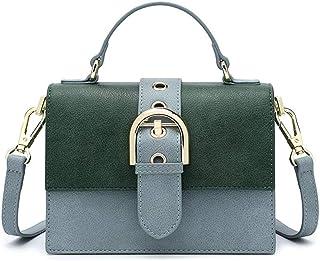 GLJJQMY Korean Version of The Color Square Small Bag Ladies Fashion Casual Wild Shoulder Messenger Bag Handbag, 20x14x10cm Hand Bag (Color : Blue)