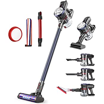 Dibea Upgrade Cordless Stick Vacuum Cleaner 250W Powerful Suction Bagless Lightweight Rechargeable 5 in 1 Handheld Car Vacuum for Carpet Hard Floor, Navy Blue D18Pro