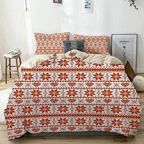 Jojun Duvet Cover Set Beige,Scandinavian Tradition Fashion Nordic Borders Geometrical Pixel Retro StyleWhite,Decorative 3 Piece Bedding Set with 2 Pillow Shams Easy Care Anti-Allergic Soft Smoot