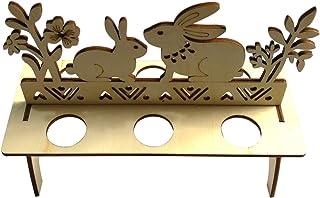 LUOEM Decoration de Paques Ornement Lapins de Pâques Porte Oeufs de Paques en Bois Non Peint