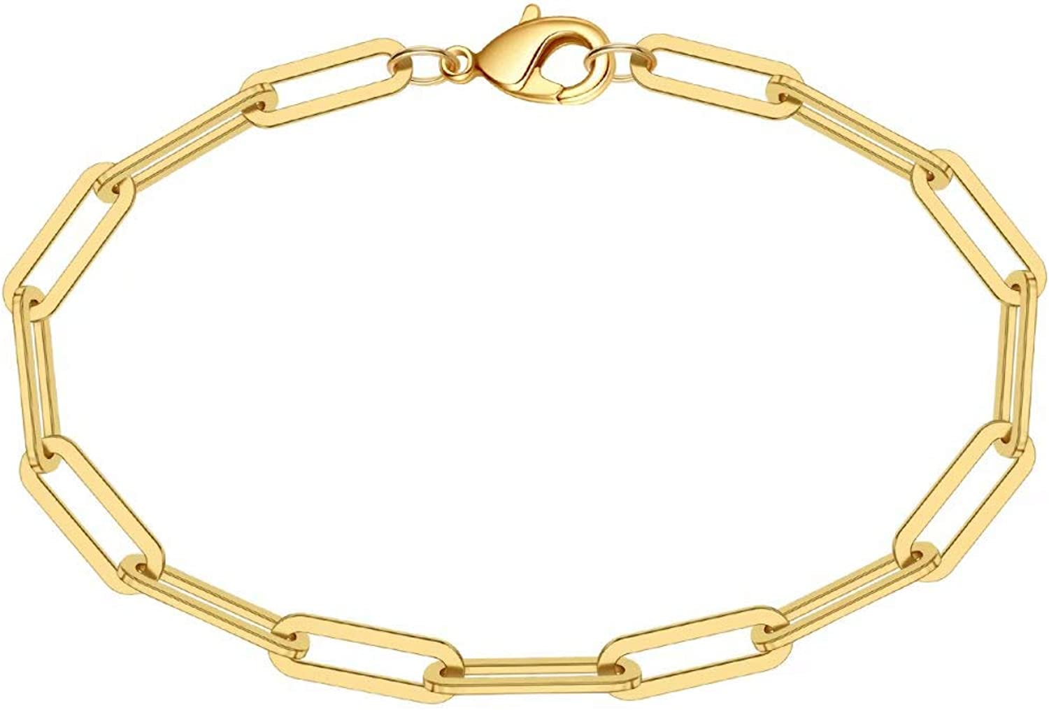 Turandoss Gold Paperclip Link Chain Necklace Bracelet Set, 21K Gold Plated  Dainty Oval Link Chain Necklace Bracelet Anklet Paperclip Chain Gold ...